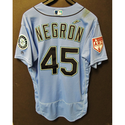 Photo of Kristopher Negron Game Used Light Blue Spring Training Jersey 2019  Exhibition Game - SD @ SEA 3-26-2019