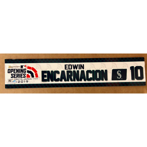 Photo of 2019 Japan Opening Day Series - Game Used Locker Tag - Edwin Encarnacion -  Seattle Mariners
