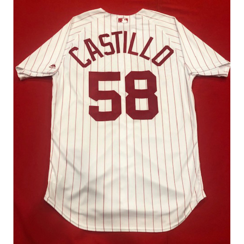 Photo of Luis Castillo -- 1967 Throwback Jersey -- Game-Used for Rockies vs. Reds on July 28, 2019 -- Jersey Size: 46