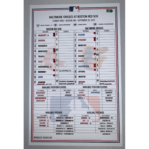 Photo of Baltimore Orioles VS Boston Red Sox September 28, 2019 Game Used Lineup Card - Orioles Win 9 to 4