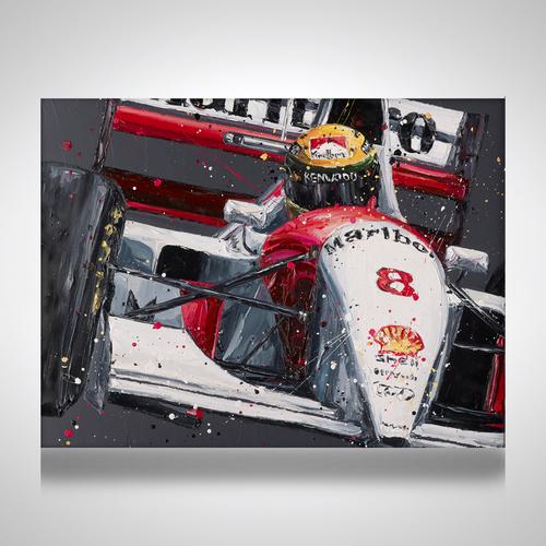 Photo of Ayrton Senna Hand Embellished Canvas - Paul Oz