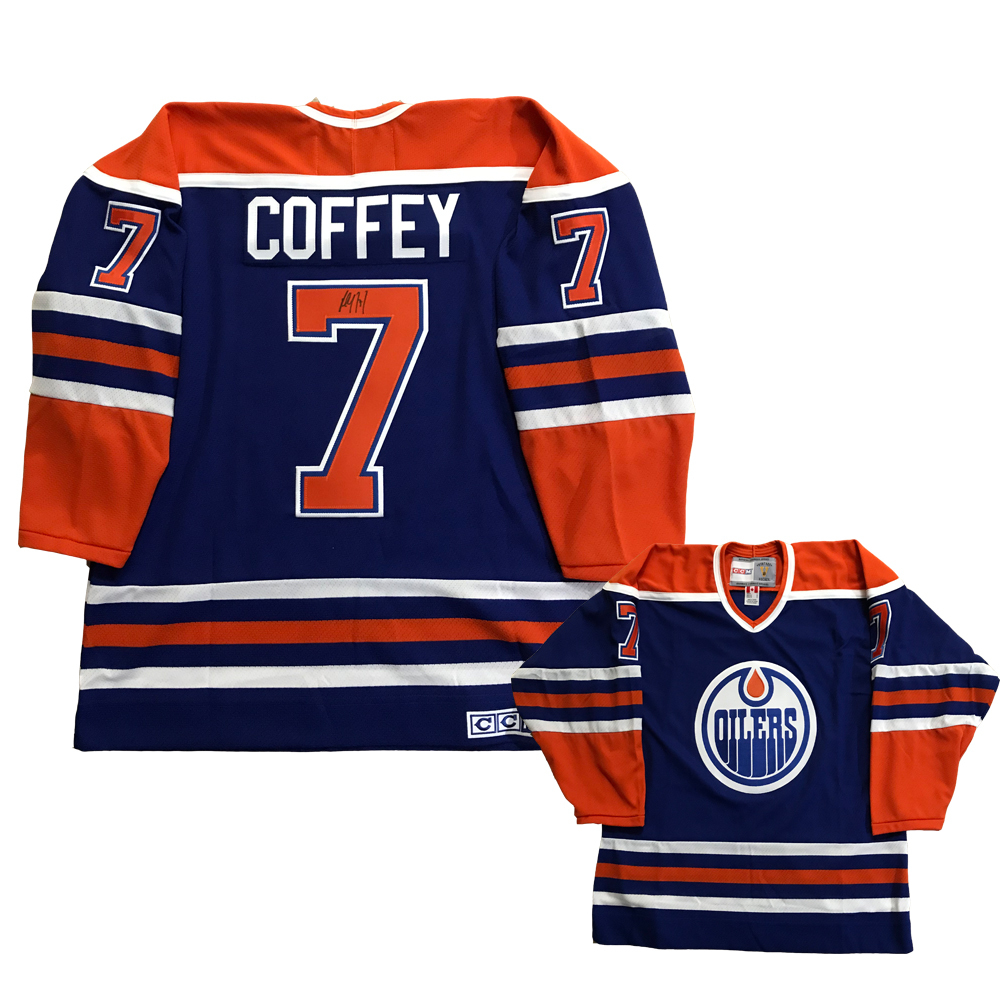 PAUL COFFEY Signed Edmonton Oilers Blue CCM Jersey