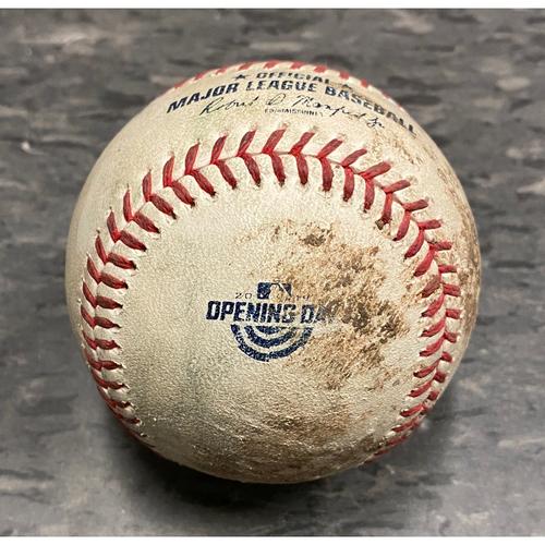 2019 Game Used Opening Day Baseball used on 4/5 vs. Tampa Bay Rays - B-9: Jose Alvarado to Joe Panik - Single to 3B