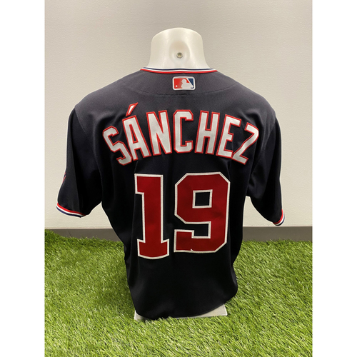 Photo of Anibal Sanchez 2020 Game-Used World Series Champions Navy Script Jersey