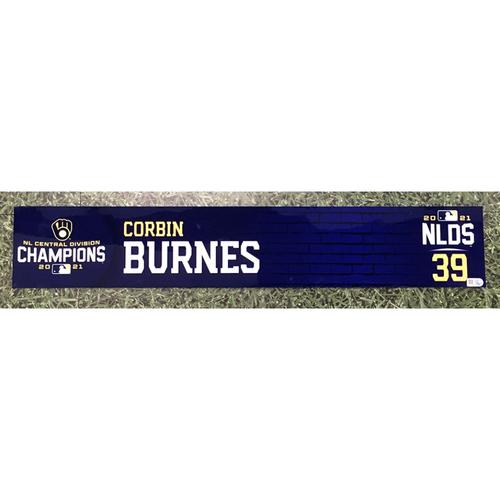 Photo of Corbin Burnes 2021 Game-Used NLDS Locker Nameplate