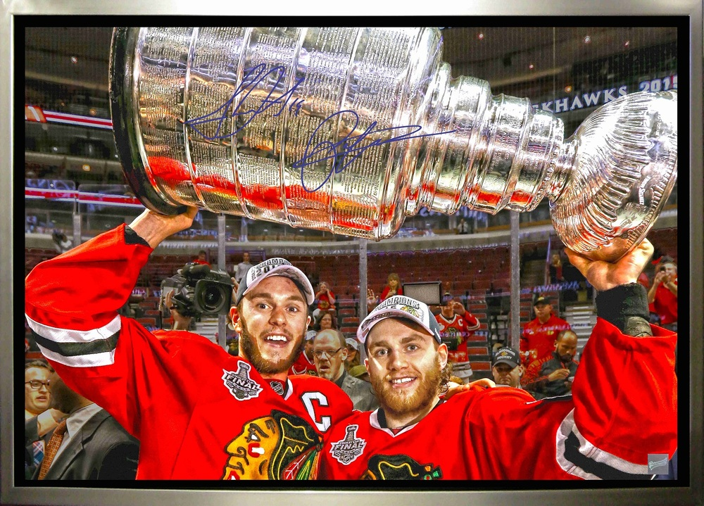 Jonathan Toews & Patrick Kane - Dual-Signed & Framed 20x29 Canvas - Chicago Blackhawks 2015 Raising Cup