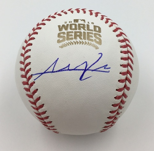 Photo of Addison Russell Autographed 2016 World Series Logo Baseball