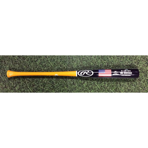 """Photo of Mike """"MOOSE"""" Moustakas Team-Issued 2018 Players Weekend Bat"""