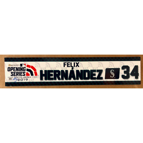Photo of 2019 Japan Opening Day Series - Game Used Locker Tag - Felix Hernandez -  Seattle Mariners