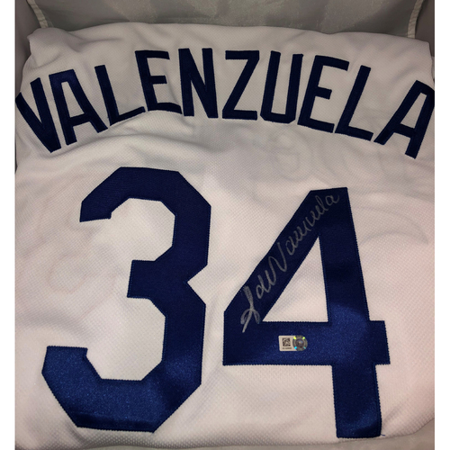 Photo of Fernando Valenzuela Authentic Autographed, Game-Used Los Angeles Dodgers Jersey - 6/1/2019