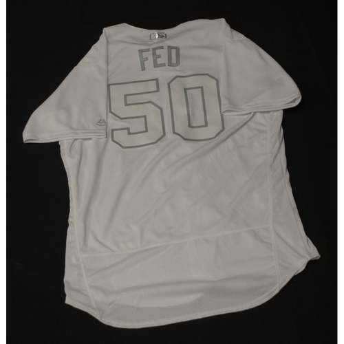 "Photo of Tim ""FED"" Fedorowicz Texas Rangers Team-Issued 2019 Players' Weekend Jersey"