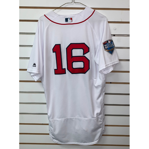 Photo of Andrew Benintendi Team Issued 2018 World Series Home  Jersey