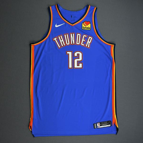 Image of Steven Adams - Oklahoma City Thunder - Game-Worn 2nd Half Icon Edition Jersey - 2019-20 Season