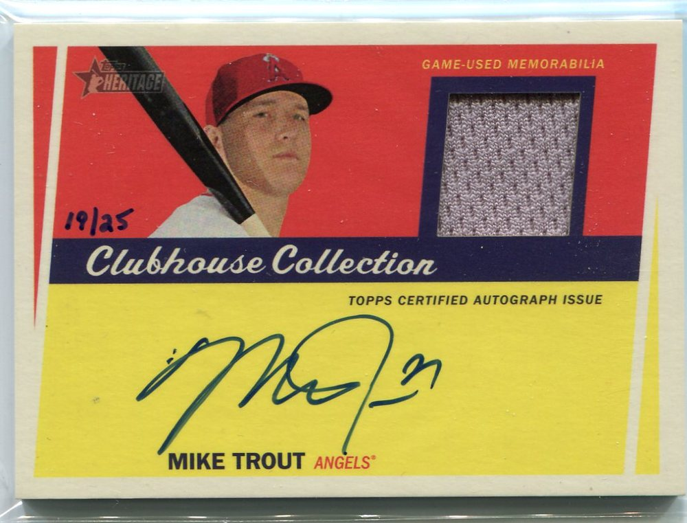 2016 Topps Heritage Clubhouse Collection Relic Autographs Mike Trout 19/25