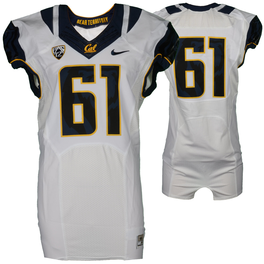 California Bears Game-Used #61 White Jersey Used During The 2015 Season - Size 46+4
