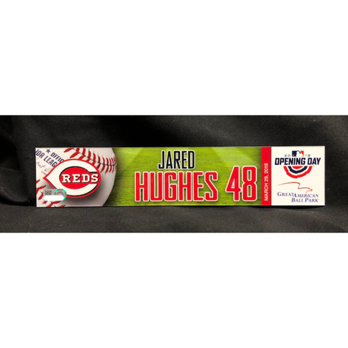 Photo of Jared Hughes Opening Day Locker Name Plate -- Made Reds Debut as Relief Pitcher -- WSH vs. CIN on 3/30/18