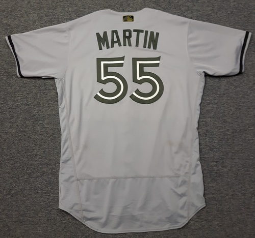 Photo of Authenticated Game Used 2018 Memorial Day Jersey - #55 Russell Martin (May 26, 2018: 1-for-3 with 1 RBI. Started at SS. May 28, 2018: 0-for-3 with 1 Walk). Size 46