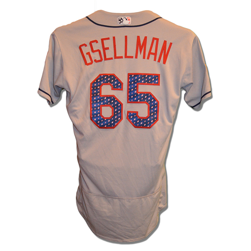 Photo of Robert Gsellman #65 - Game Used 4th of July Jersey - Gsellman .1 IP, 0 ER - Mets vs. Blue Jays - 7/4/18