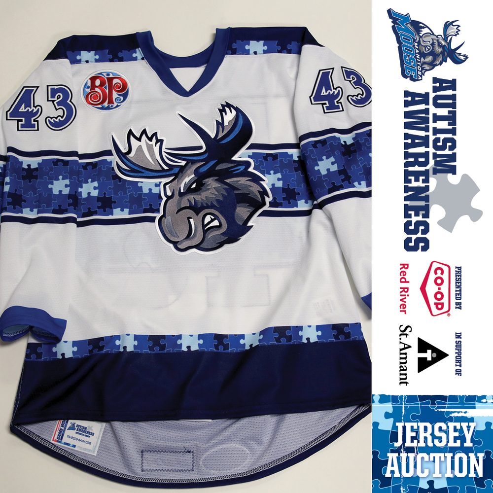 SKYLER MCKENZIE Manitoba Moose Game Issued Autism Awareness Jersey