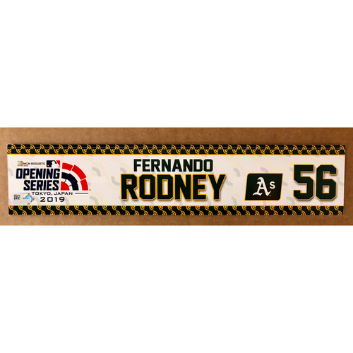 Photo of 2019 Japan Opening Day Series - Game Used Locker Tag - Fernando Rodney -  Oakland Athletics