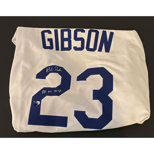 "Photo of Kirk Gibson ""88 WSC"" Autographed Replica Dodgers Jersey"