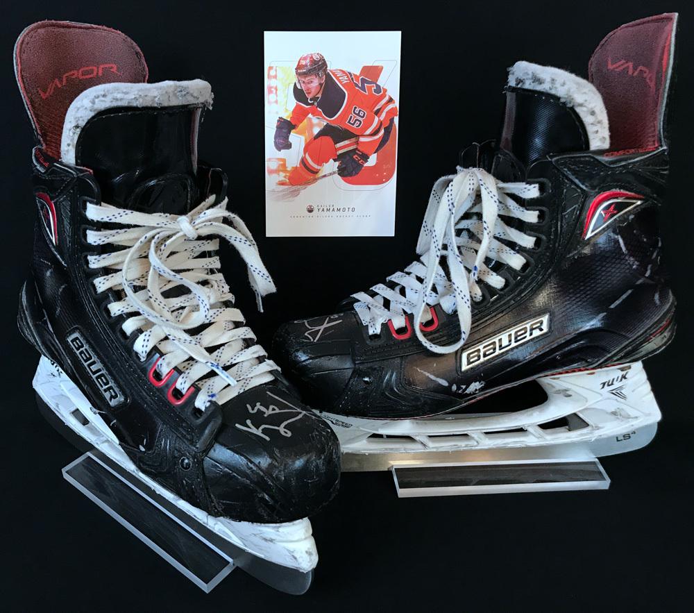 Kailer Yamamoto #56 - Autographed 2018-19 Edmonton Oilers & AHL Bakersfield Condors Game-Worn Bauer Skates