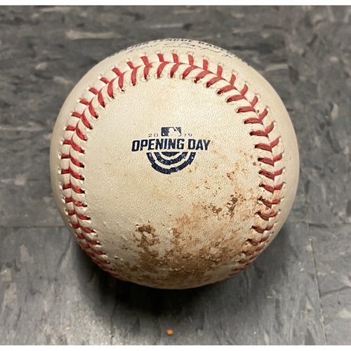 Photo of 2019 Game Used Opening Day Baseball used on 4/5 vs. Tampa Bay Rays - T-5: Dereck Rodriguez to Austin Meadows - Strikeout Swinging. Also Tommy Pham Foul Ball