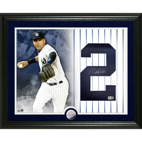 Photo of Derek Jeter Autographed Jersey Number Silver Coin Photo Mint