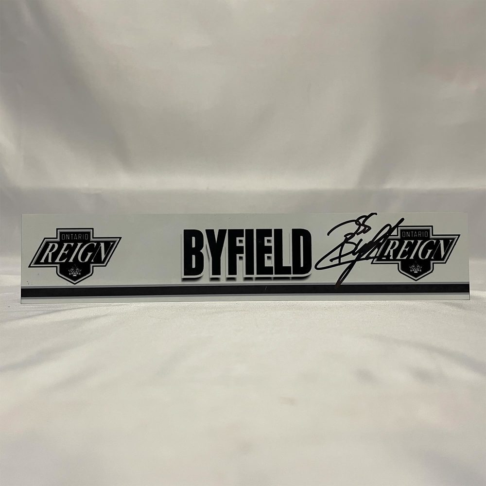 2020-21 Ontario Reign Locker Room Nameplate Signed by #55 Quinton Byfield