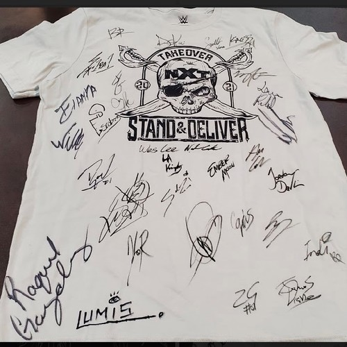 SIGNED NXT TakeOver Stand & Deliver White Logo Tee