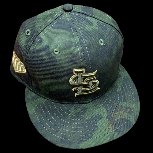Dylan Carlson Autographed Team Issued Camo Cap (Size 7 3/4)