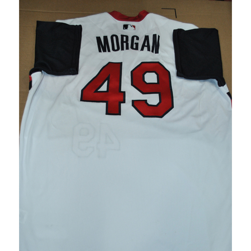 Photo of Game-used Jersey - 2021 Little League Classic - Los Angeles Angels vs. Cleveland Indians - 8/22/2021 - Great Lakes, Elijah Morgan #49