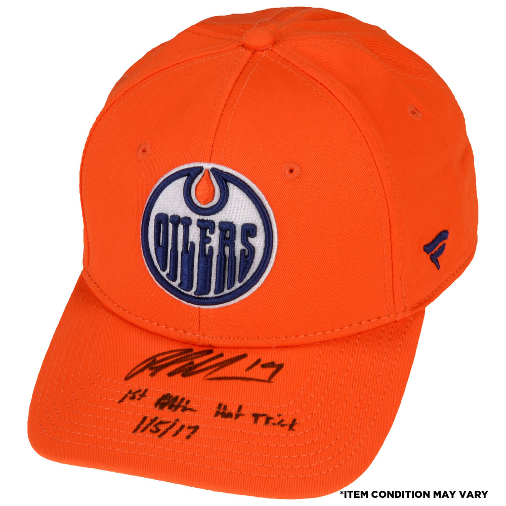 Patrick Maroon Edmonton Oilers Autographed Cap with 1st NHL Hat Trick Inscription - Imperfect Condition