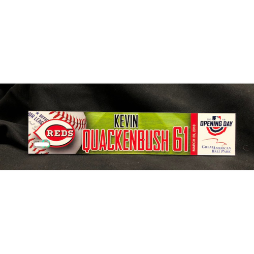 Photo of Kevin Quackenbush Opening Day Locker Name Plate -- Made Reds Debut as a Relief Pitcher -- WSH vs. CIN on 3/30/18