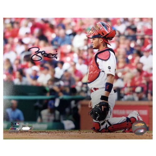 Photo of Cardinals Authentics: Yadier Molina Kneeling Autographed 8 x 10 Photo