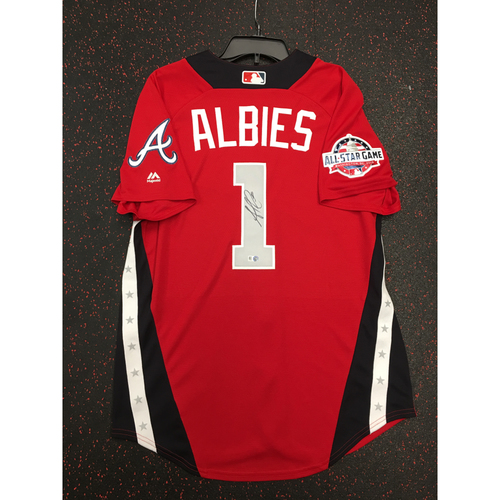 Photo of Ozzie Albies 2018 Major League Baseball Workout Day Autographed Jersey