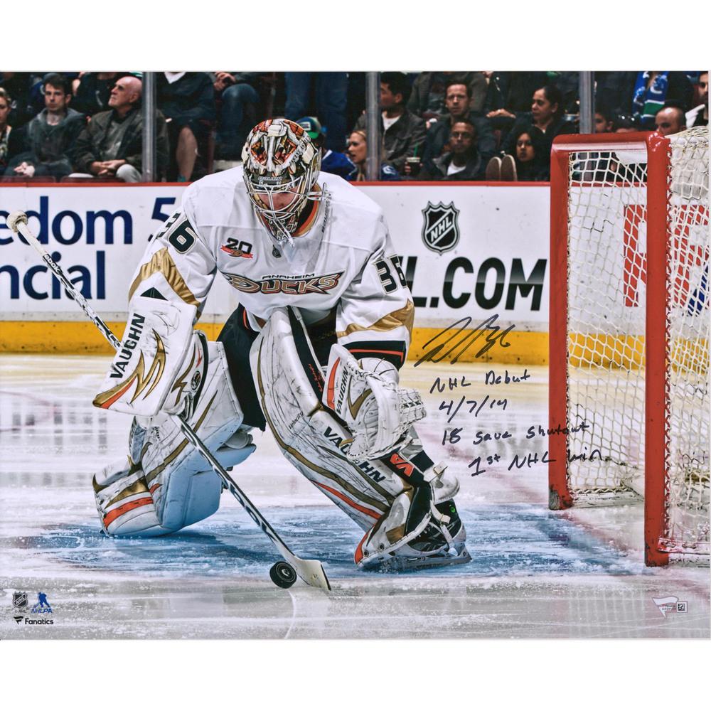 John Gibson Anaheim Ducks Autographed 16
