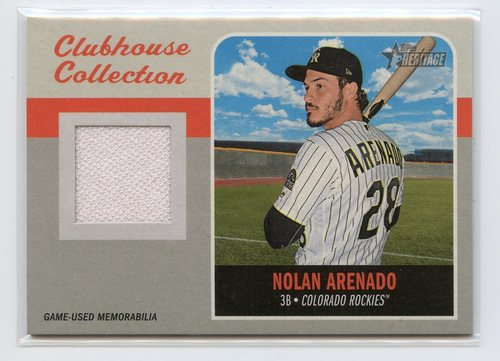 Photo of 2019 Topps Heritage Clubhouse Collection Relics #CCRNA Nolan Arenado