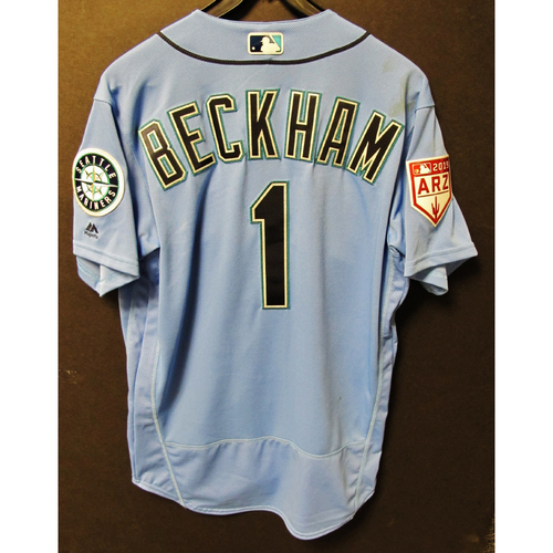 Photo of Tim Beckham Game Used Light Blue Spring Training Jersey 2019  Exhibition Game - SD @ SEA 3-26-2019