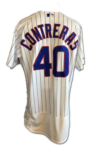 Photo of Willson Contreras Game-Used Jersey -- Contreras 2 HRs (14th and 15th of Season; Including Grand Slam), 5 RBI -- White Sox vs. Cubs -- 6/19/19