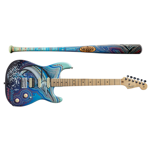Photo of One-of-a-kind Artist-Painted Marlins Louisville Slugger Bat and Fender Stratocaster Guitar