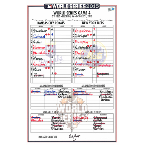 Photo of 2015 World Series Game Used Lineup Card -  Kansas City Royals at New York Mets- Game #4 (10-31-2015) - Royals Dugout