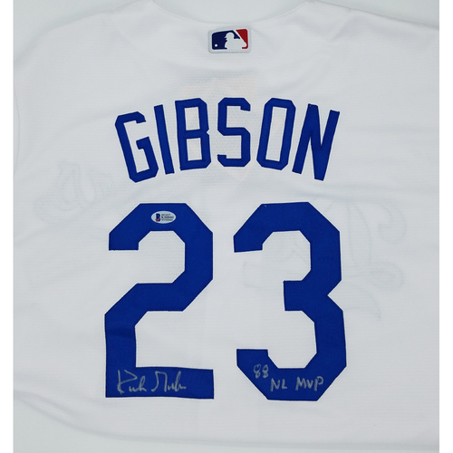 "Photo of Kirk Gibson ""88 NL VMP"" Autorgrpahed Replica Dodgers Jersey"