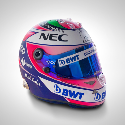Photo of Sergio Perez Signed Spa GP Full-Size 2018 Replica Helmet