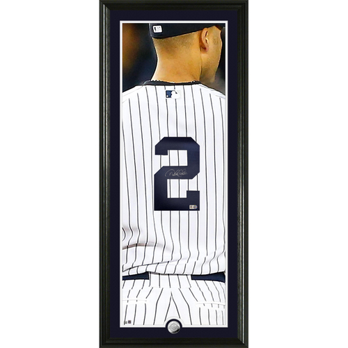 "Photo of Derek Jeter Autographed Jersey Number 18""x 42"" Vertical Silver Coin Photo Mint"
