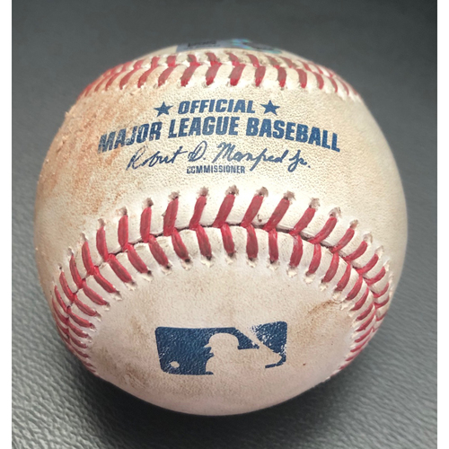 Photo of Game-Used Baseball: Pitcher: Justin Dunn, Batter: Mike Trout (Foul) - Top 1st - (LAA @ SEA - 8/4/20)