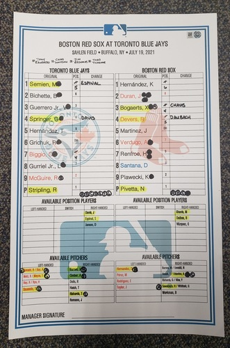 Photo of Authenticated Game Used Lineup Card: Jul 19, 2021 vs BOS - Red Sox had 6 HRs including 1st Career HR by Jarren Duran. Game played in Buffalo.