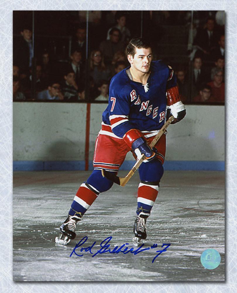 Rod Gilbert New York Rangers Autographed Original Six Action 8x10 Photo