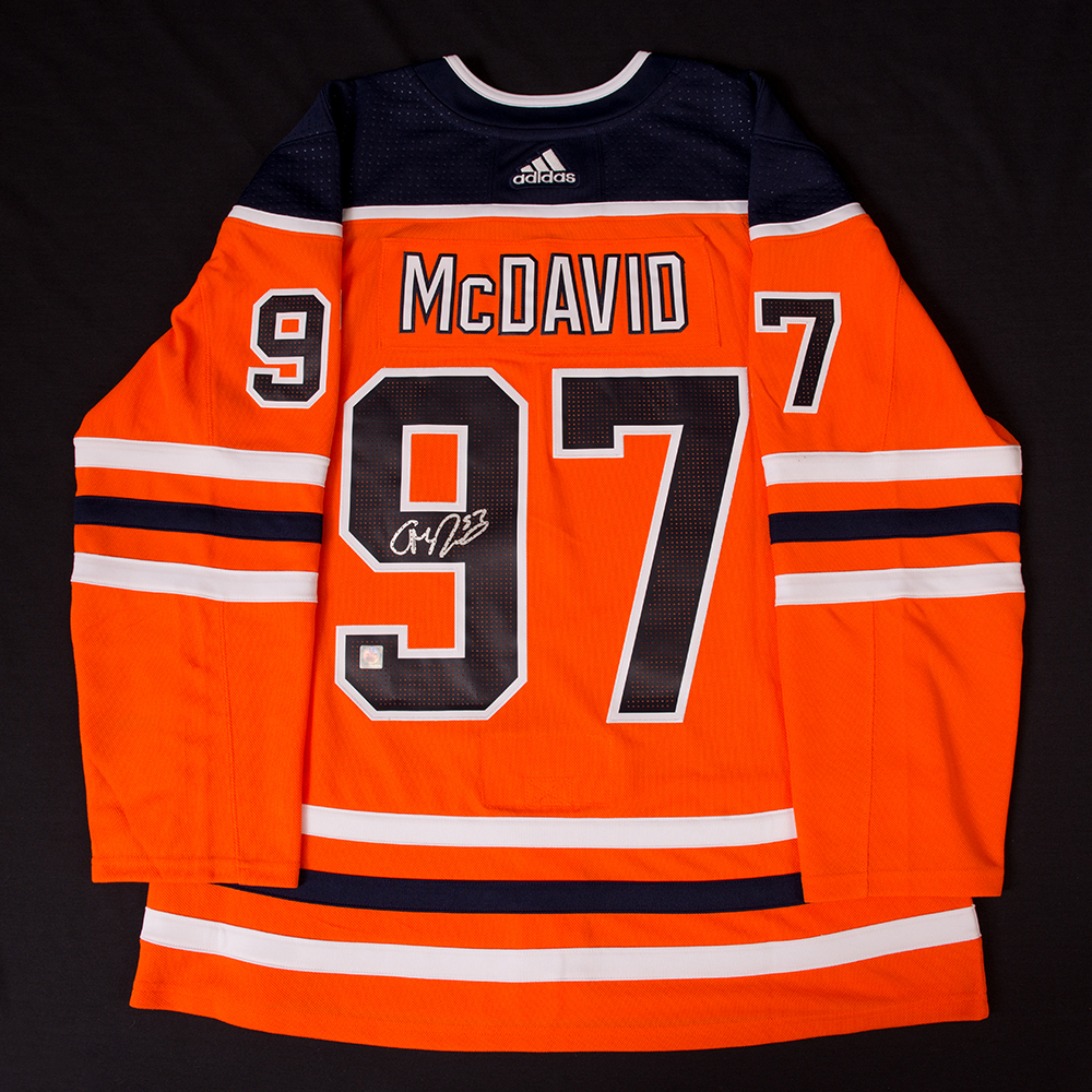 Connor McDavid #97 - Autographed Edmonton Oilers Orange Adidas Retail Pro Authentic Jersey - Includes Two Bonus 2016-17 Edmonton Oilers Team Issued Player Cards