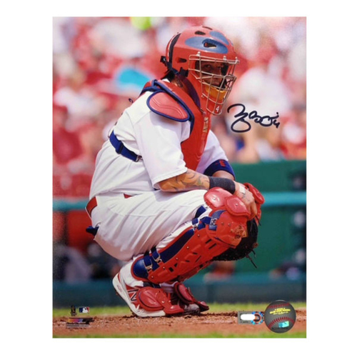 Photo of Cardinals Authentics: Yadier Molina Squat Autographed 8 x 10 Photo